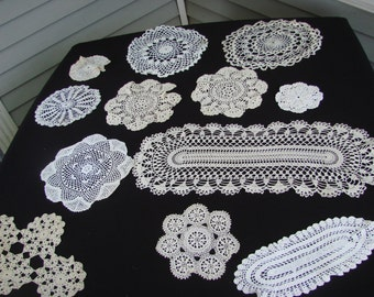 Lot of 12 Vintage Hand Crochet Off White Doilies
