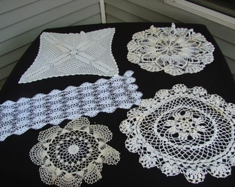 Lot of 5 Vintage Hand Crochet White and Off White Doilies