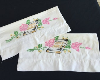 Pair of Vintage White Cotton Pillowcases with Hand Embroidery Holy Bible and Pink Roses