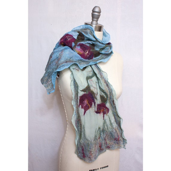 Nuno Felted Scarf on Silk Art to Wear