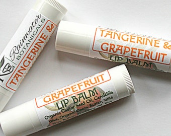 Vegan Tangerine Grapefruit Lip Balm with Blueberry Oil and Shea