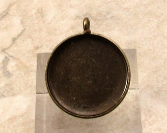 18 MM Pendant Bezel, Brass Ox, 2 pieces, AB137