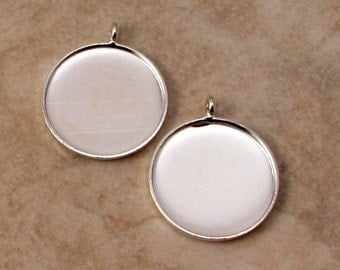 18 MM Pendant Bezel, Silver, 2 pieces, AS365