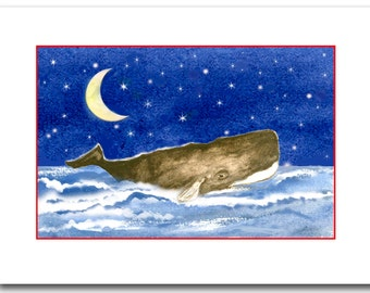 NEW 2016: 10 Sperm whale Christmas cards. Whale art. whale cards  set of 10. nautical Christmas.  coastal Christmas. Original artwork.