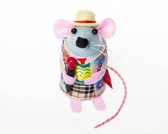 Sylvester McCoy Doctor Who Mouse Artisan Ornament - felt mouse hamster rat mice cute gift for animal lover or doctor who collector