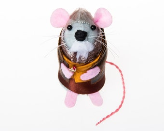 John Hurt War Doctor Who Mouse Artisan Ornament - felt mouse hamster rat mice cute gift for animal lover or doctor who collector