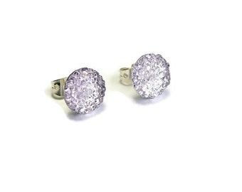 RESERVED-Light Purple Earrings, Lavender Studs, Lilac Crystal Rounds, Simple Minimalist