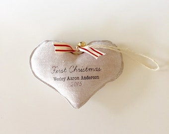 FIRST CHRISTMAS baby's first Christmas ornament. Personalized. Linen heart ornament.