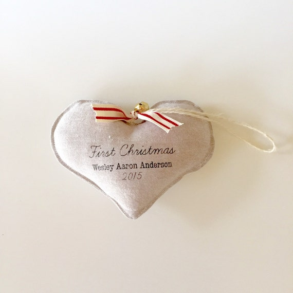 1st Christmas ornament. FIRST CHRISTMAS baby's first Christmas ornament. Personalized. Linen heart ornament.