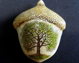 Oak tree of life acorn pin Moosup Valley Designs