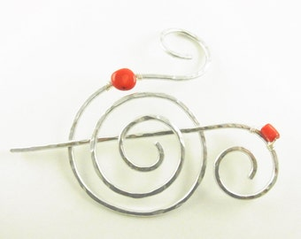 Silver Hair Slide Spiral with Genuine Bamboo Coral