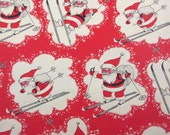 RESERVED FOR RACHAEL Vintage Red Christmas Wrapping Paper or Gift Wrap with Santa on Skis Skiing