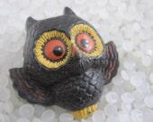 Vintage Hallmark Halloween black owl lapel pin brooch