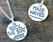 Make Waves Jewelry - Rock The Boat Necklace - Reversible Sterling Silver Charm Jewelry With Words #SDC-28