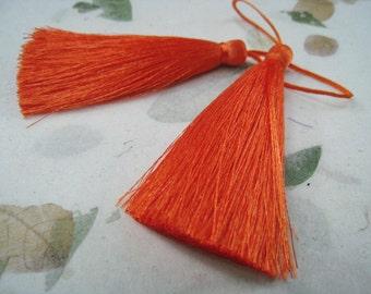 4 Pieces of Long Silk Tassel  - Bright Orange