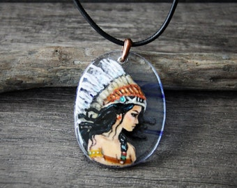 Amazing bohemian -  fused glass pendant -  woodland necklace - boho pendant- amerindien glass art