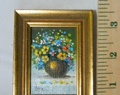 Sale Miniature Oil Painting , Vivian Hollan Swain, Flower Vase, Gold Vase, Floral Arrangement, Poseys, Daisies