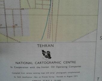 Valentines Day Sale 1970's Map of Tehran, Iran ,Tourist Souvenir retro 1971, Vacation Nostalgia, Iranian landmarks, historic locations