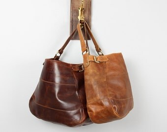 Leather Handbag Purse Tote, Oiled Brown Leather