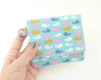 cute whale wallet. teen girl fabric coin purse card organizer. cute ladies credit card holder. tween small vegan slim gift