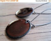 Chestnut Brown enamel earrings copper nickel free kidney earwire