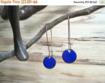 SALE Dangle Earrings, Cobalt Blue Drop Earrings, Royal Blue Earrings, Copper Enamel Jewelry, Nickel Free Kidney Earwires, Handmade Earrings