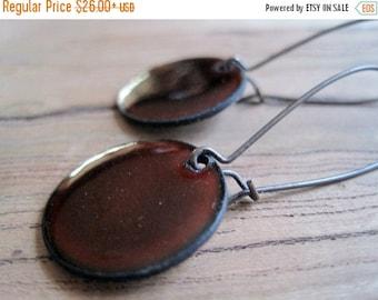Chestnut Brown enamel earrings copper nickel free kidney earwire