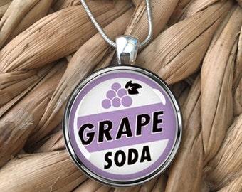 Grape Soda Bottle Cap UP Movie Glass Pendant Necklace