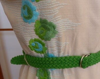 Vintage 60s Embroidered Linen Dress
