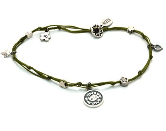 Evil Eye Protection Solomon Seal and lucky Charms Anklet in Olive Green