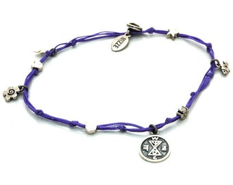 Match Making Solomon Seal and lucky Charms Anklet in Purple