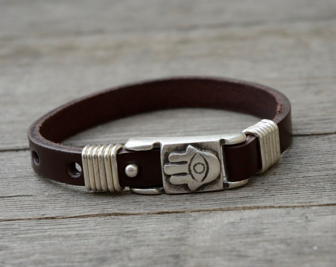 Handmade Brown Leather Hamsa Bracelet