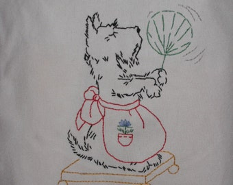 Hand Embroidered Scottie Dog Tote Bag
