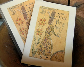 You Hold the Key - LIMITED EDITION Faolk Art Notecards - from Notforgotten Farm™