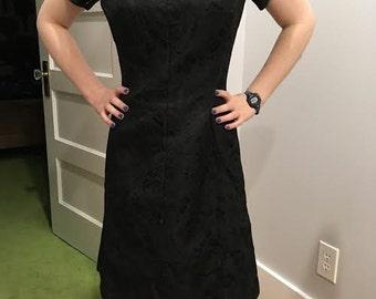 Cute 1950's Vintage Little Black Dress by Leslie Faye