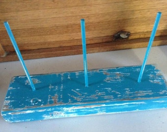 Rustic Twine and Ribbon Holder Aqua Turquoise craft storage spool vintage Wood  OOAK