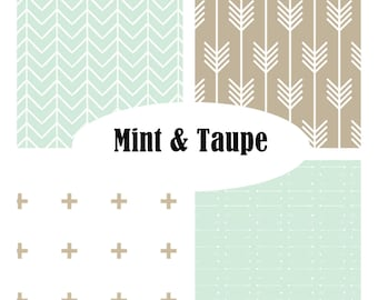 Custom Crib Bedding-3 piece-Mint & Taupe modern crib bedding
