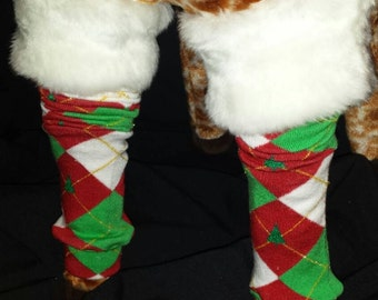 Christmas Argyle Xmas Tree with Fur Top Holiday Baby Legs