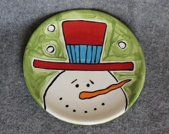 Snowman small plate, hand painted pottery, Winter plate, Winterwonderland, Want to build a snowman, serving dish, cookie plate,holiday plate
