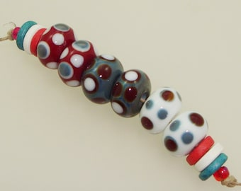 Handmade Lampwork Glass Beads - 3 pairs. Dots in red, white and denim blue. Patriotic, July 4, Independence Day, earring pairs, Americana.