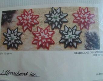 Herrschners Plastic Canvas #57-1840 Starflake Ornaments