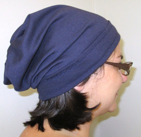 Navy Slouch Womens  Cotton Stretch Knit Chemo Hat Chemo Cap, Cancer Hat, Alopecia