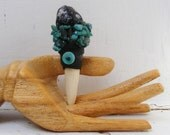 HEAR ME mini magic Crystal Wand, Apache Tear, Turquoise, deer antler, shaman talisman wicca, new age, Pocket Wand tool
