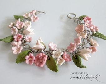 Flower Garden Bracelet, Handmade Polymer Clay Flower Bracelet, Flower Jewelry, Flower Wedding, Shabby Chic Charm Bracelet