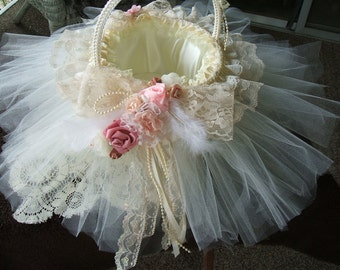 Shabby Cottage,Victorian Basket,Tulle Skirt~Handmade~ Shabby Home Decor, Flower Girl Basket,Cottage Chic, Tulle and Lace Basket,Wedding