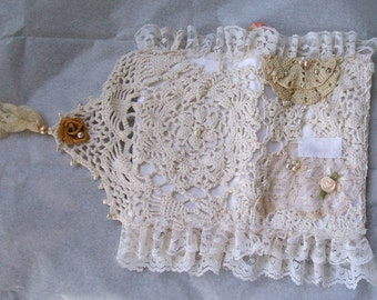 Handmade,Shabby Chic,Note Book/Passport Cover, Roses & Pearls,Doilies, Lace, Holds Passport, Credit Cards, Tablet