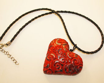 Embossed Red Hollow Heart Pendant