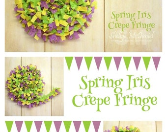 Spring Iris Handmade Crepe Paper Fringe, Festooning, Trim, Garland, Decoration, Party, Craft Supply, Streamer, Scrapbooking, Lilac, Green