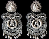 Sale Large filigree with fresh water pearls earrings Frida Style.