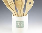 Utensil Holder, Ceramic Kitchen, Spoon Holder, Farmhouse Pottery Tool Holder, Kitchen Organizing, Ceramic Crock, Cooking Gift, Housewares